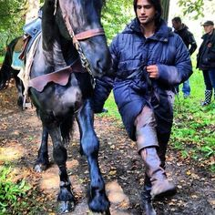 """Via Luke Pasqualino's Instagram: """"Me and my noble steed Zad...Showboatin! #Prague The Musketeers"""""""