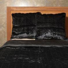 Black Faux Fur Mink Duvet Cover Set 86
