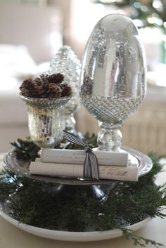 mercury glass Christmas centerpiece & beautiful silhouette picture frame ornaments!