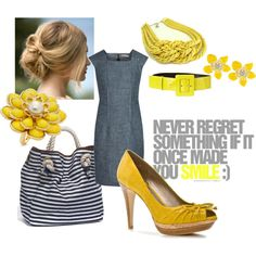 I'm not usually big on wearing yellow, but I love this. Simple dress with a bright belt, shoes, and earrings.