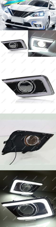 Motors Parts And Accessories: 2X White Led Drl Daytime Running Light Fog Bezel Lamp For 2016-17 Nissan Sentra BUY IT NOW ONLY: $100.0