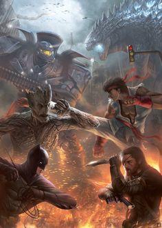 Gipsy Danger (Pacific Rim) vs Godzilla Groot (Guardians of the Galaxy) vs Ryu (Street Fighter) Batman vs Big Boss (Metal Gear)  Illustration by Billy Christian for Popcon Asia 2014