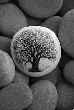 Tree of life painted pebble