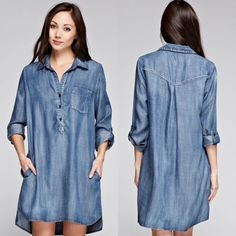 Love Stitch Tencel Tunic Shirt Dress Dark Vintage #LoveStitch #ShirtDress