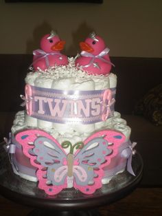 baby shower diaper cakes | Twins Diaper Cakes baby shower gift or centerpiece boy or girl or one ...