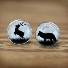 Jewellry+Stud+Earrings+deer+and+wolf+in+the+moon+from+Madame+Butterfly+JEWELLERY+by+DaWanda.com