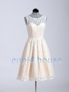 Short Blush Pink Lace Reception Dress Lace Bridesmaid Dress/White Ivory Pink/Lace Prom Dress/Lace Wedding Dress/Wedding Party Dress