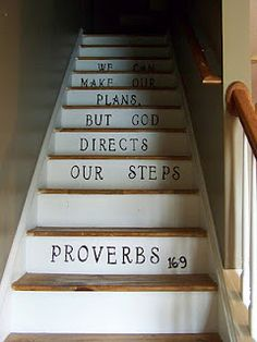 Stenciled stairs- but smaller, all caps and off to one lower side to be more modern