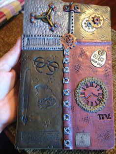 Polymer Clay Journal / Steampunk Refillable Notebook by NeeNeeReeBeads on Etsy
