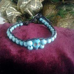 Turquoise skull wrap bracelet $24