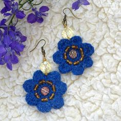 Blue violet flower earrings. Reminds spring and one of the first field flowers - forest violets. The color is positive and electric! Chic to wear ;) Light and strong. They are crocheted with bright blue acrylic yarn and embroidered with Czech crystals. About 4 cm in diameter, and 6 cm long with the ear piece. Flower Earrings, Crochet Earrings, Progressive Auto, Word Of Mouth Marketing, Violets, Diy Tutorial, Diy Jewelry, Electric, Strong