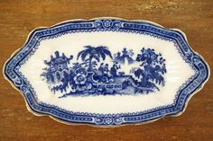 Adams Kyber Flow Blue Dish Blue Dishes, Victorian Design, See Photo, Flow, Decorative Plates, Blue And White, Crystals, Antiques, Handmade Gifts