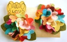Carnival felt flower hydrangea clips with hand sewn centers from Louandlee on Etsy
