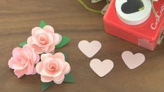 Cute rose flower made with heart-shaped craft punch Paper Flowers Craft, Paper Crafts Origami, Giant Paper Flowers, Diy Flowers, Diy Paper, Paper Punch Art, Flower Video, Quilling Patterns, Flower Tutorial