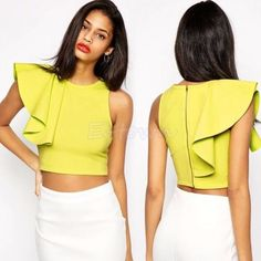 one shoulder crop tops - Google Search