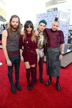 Cole Whitte, Jinjoo Lee, Joe Jonas and Jack Lawless of DNCE at the American Music Awards in LA, November 2015