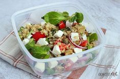 Zdrowy lunchbox do pracy Food Inspiration, Cobb Salad, Quinoa, Feta, Potato Salad, Lunch Box, Food And Drink, Vegetarian, Cooking