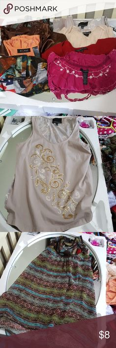Closet clean out  bundle of 8 Size M Tops PLEASE PARDON MY MESS!  I'M CLEANING OUT!  You will receive 8 tops for $8 All top are size medium.   Brands are  RUE 21 Banana Republic Preston & York  Pretty Good Jessica Max USA Axcess Cynthia Rowley Wet Seal #2 Tops