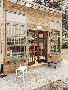 How I Built my Dream Greenhouse - Arrows & Twine Backyard Greenhouse, Greenhouse Plans, Backyard Landscaping, Building A Garage, Green Building, Building Plans, Green Windows, Potting Sheds, Dream Garden