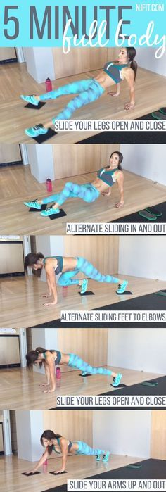 5 minute full body workout! ARE YOU IN? For this workout you will want to use sliders OR you can use a towel on a hard surface OR plates on carpet. Here is the plan   From a reverse bridge hold slide your legs open and close From that same position, alter