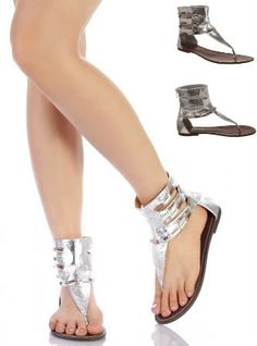 Womens Silver Flat Sandals Open Toe Post Jewel Ankle Boots Ladies Shoes Size 3 8 | eBay 25