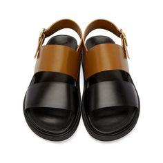 Marni - Brown & Black Leather Sandals