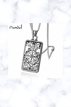 Astrology Tarot Card Pendant Necklace Lucky Wheel Of Fortune