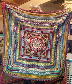 Ravelry: The Amanzi Block/Throw pattern by Jen Tyler Crochet Mandala Pattern, Crochet Square Patterns, Crochet Quilt, Crochet Cushions, Crochet Blocks, Freeform Crochet, Crochet Art, Doily Patterns, Crochet Blanket Patterns