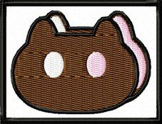 Single-Count-Custom-and-Unique-25-x-2-Inches-Rectangle-Cartoon-Network-TV-Show-Steven-Universe-Cat-Face-Iron-On-Embroidered-Applique-Patch-White-Brown-Pink-and-Black-Colors