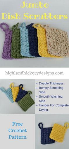 Crochet Jumbo Dish Scrubbers. Free pattern. Pattern uses easy stitches and works up quickly. Heavy duty, durable.