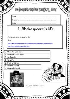 SHAKESPEARE WEBQUEST ( SHAKE'S LIFE-WORKS-TIMES-THE GLOBE) - TeachersPayTeachers.com