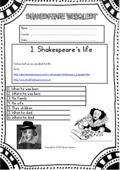 Shakespeare Webquest ( Shake's Life-Works-Times-The Globe)