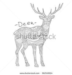 Deer / coloring book for adults / small unique pattern / mandala / tattoo