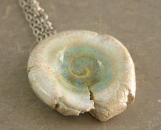#pendant #ceramic #shell #sea life #blue #glazed #etsyfollow @piabarilejewelry $28.00