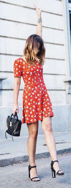 #street #style padrão vermelho vestido estampadowachabuy