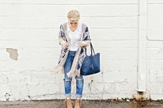oversized cardigan with distressed jeans