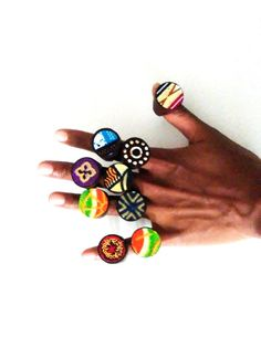 African Rings, Ankara Rings, African Jewelry, Unique Jewelry, Gift for Her, Holiday Gift, African Fabric Rings, Ethnic Jewelry, Wooden Rings