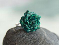 Malachite ring Rose jewelry Handmade jewelry for women Malachite jewelry Floral ring Flower jewelry  Cocktail ring Rose ring  gift for women