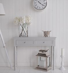White Hallway Console Table white hall furniture, storage bench, new england console table and