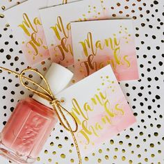 These Printable Mani Thanks Gift Thank You tags have a soft blush pink watercolor style background. Perfect for tying onto a bottle of nail polish for an easy and adorable Thank you gift. Thoughtful Bridal Shower Gifts, Wedding Shower Gifts, Bridal Shower Party, Bridal Shower Rustic, Bridal Shower Decorations, Wedding Favours, Bridal Shower Invitations, Party Favors, Bridal Showers