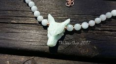 Wolf necklace, Hemimorphite wolf gemstone choker with Aquamarine beads,  solid copper, pagan witch jewelry, seafoam green necklace