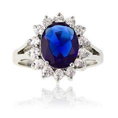 La Preciosa, jewelry, rings, accessories, blue, silver, silver jewelry, gems - La Preciosa Sterling Silver Blue and Clear CZ Diana Ring
