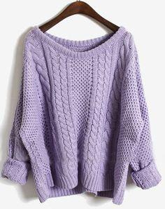 Purple Batwing Long Sleeve Pullovers Sweater
