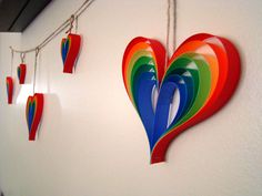 Paper Heart Garland  Rainbow Hearts 5' Garland by OrigamiDelights, $10.00