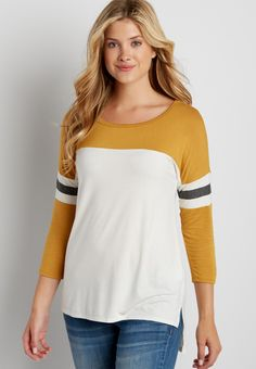 dolman football tee with high-low hem (original price, $24.00) available at #Maurices