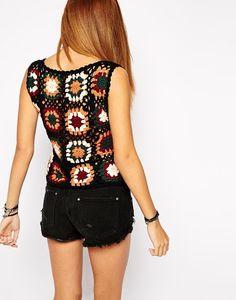 asos crochet granny square shirt                                                                                                                                                                                 More