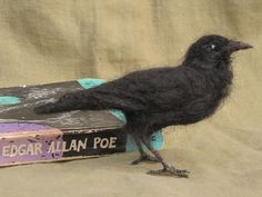 Raven or crow needle felted bird by Ainigmati on Etsy, $80.00