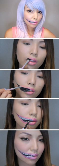 Creepy Stretched Lips Make-up | Click Pic for 22 Easy DIY Halloween Costumes for Women 2014 | Last Minute Halloween Costumes for Women