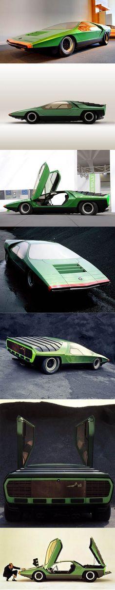 1968 Marcello Gandini for Bertone - Alfa Romeo 33 Carabo / concept / green / Italy / hypercarbulli #alfaromeovintage