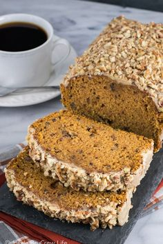 This easy and delicious Pumpkin Pecan Bread has a sweet praline pecan glaze. It's the perfect breakfast or snack this fall. Starbucks Pumpkin Bread, Pumpkin Cranberry Bread, Healthy Pumpkin Bread, Savory Pumpkin Recipes, Pumpkin Chocolate Chip Bread, Pumkin Bread, Gluten Free Pumpkin Bread, Gluten Free Muffins, Pecan Bread Recipe